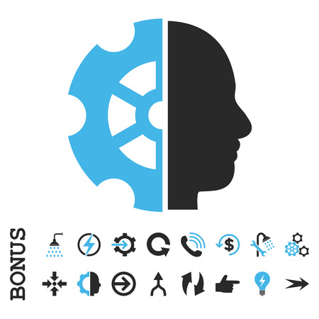 intellect: Intellect vector bicolor icon. Image style is a flat iconic symbol, blue and gray colors, white background.