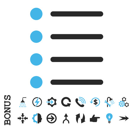 numerate: Items vector bicolor icon. Image style is a flat iconic symbol, blue and gray colors, white background.