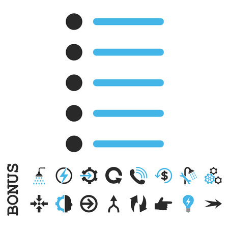 numerate: Items vector bicolor icon. Image style is a flat pictogram symbol, blue and gray colors, white background.