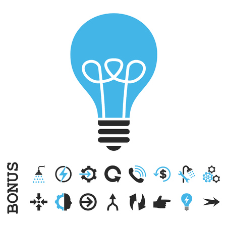 gray bulb: Lamp Bulb vector bicolor icon. Image style is a flat pictogram symbol, blue and gray colors, white background.