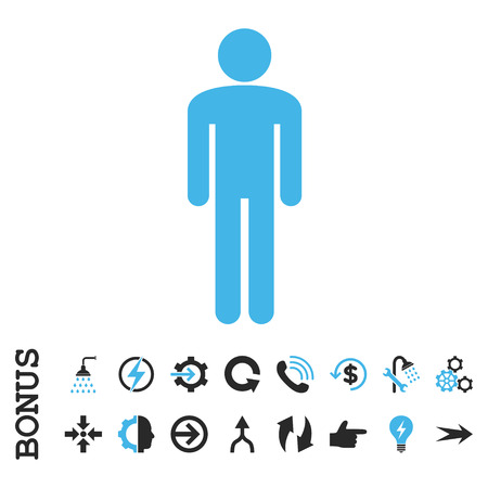 persona: Man vector bicolor icon. Image style is a flat iconic symbol, blue and gray colors, white background. Illustration