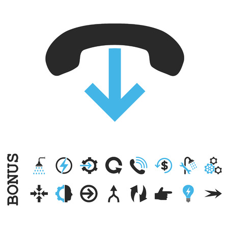 hang up: Phone Hang Up vector bicolor icon. Image style is a flat iconic symbol, blue and gray colors, white background.