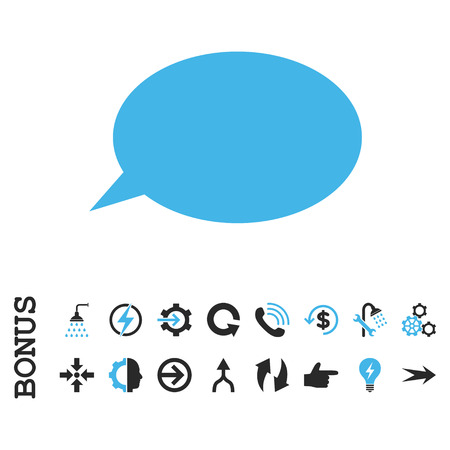hint: Message Cloud vector bicolor icon. Image style is a flat pictogram symbol, blue and gray colors, white background.