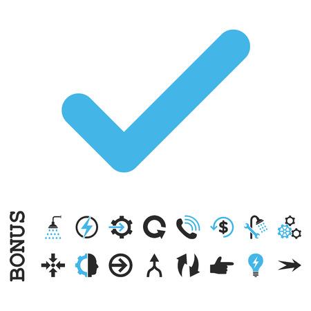 Ok vector icono bicolor. El estilo de la imagen es un símbolo icónico plano, colores azules y grises, fondo blanco.