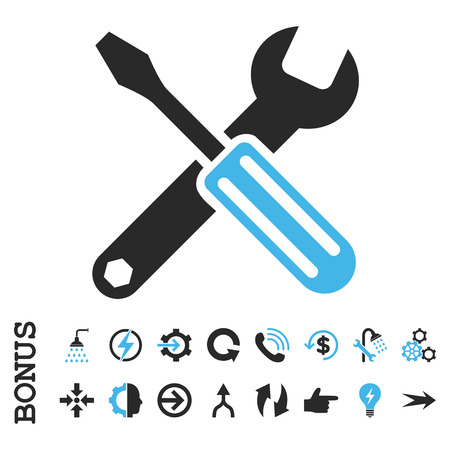 hardware configuration: Options vector bicolor icon. Image style is a flat iconic symbol, blue and gray colors, white background. Illustration