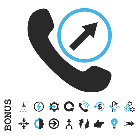 outgoing: Outgoing Call vector bicolor icon. Image style is a flat iconic symbol, blue and gray colors, white background.