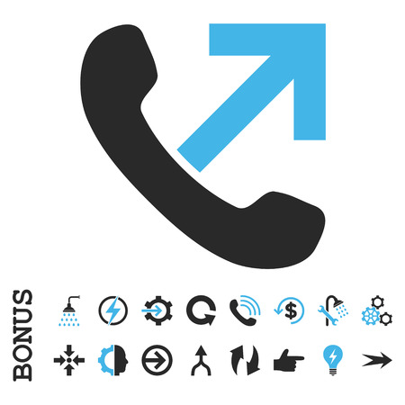 outgoing: Outgoing Call vector bicolor icon. Image style is a flat pictogram symbol, blue and gray colors, white background.