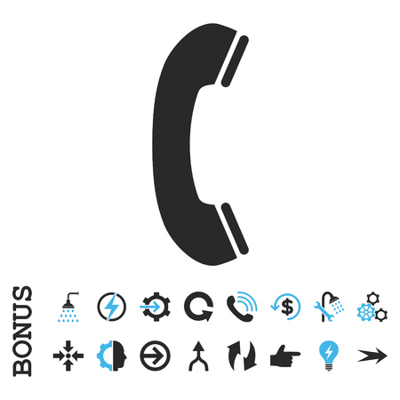 phone receiver: Phone Receiver vector bicolor icon. Image style is a flat iconic symbol, blue and gray colors, white background.