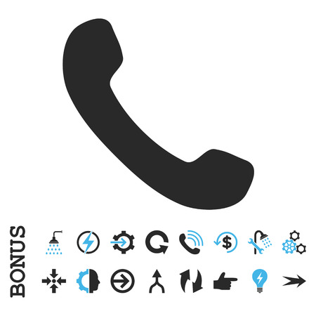 phone receiver: Phone Receiver vector bicolor icon. Image style is a flat pictogram symbol, blue and gray colors, white background.