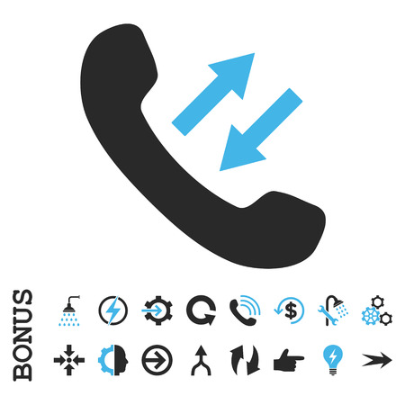 phone talking: Phone Talking vector bicolor icon. Image style is a flat iconic symbol, blue and gray colors, white background.