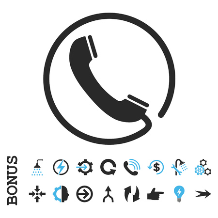 Phone vector bicolor icon. Image style is a flat pictogram symbol, blue and gray colors, white background.