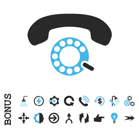 pulsing: Pulse Dialing vector bicolor icon. Image style is a flat pictogram symbol, blue and gray colors, white background.