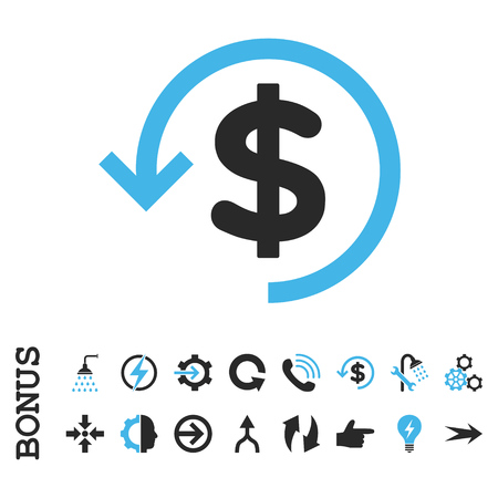 moneyback: Refund vector bicolor icon. Image style is a flat iconic symbol, blue and gray colors, white background. Illustration