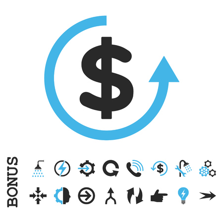moneyback: Refund vector bicolor icon. Image style is a flat pictogram symbol, blue and gray colors, white background. Illustration