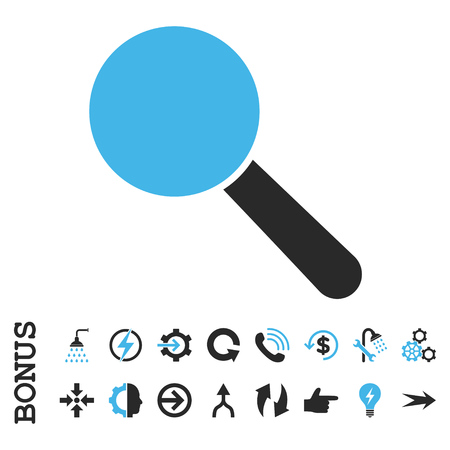 look up: Search Tool vector bicolor icon. Image style is a flat pictogram symbol, blue and gray colors, white background.