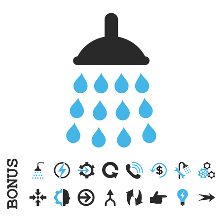 antiseptic: Shower vector bicolor icon. Image style is a flat iconic symbol, blue and gray colors, white background. Illustration