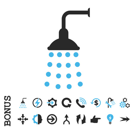 disinfectant: Shower vector bicolor icon. Image style is a flat iconic symbol, blue and gray colors, white background. Illustration