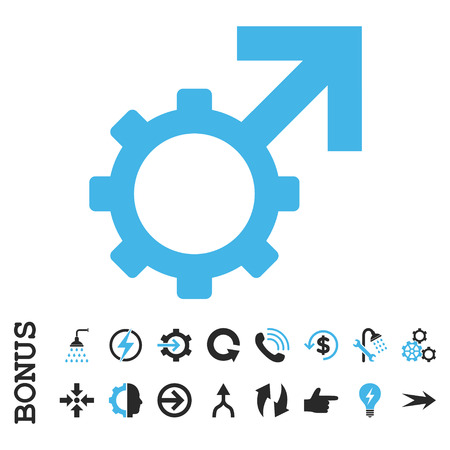 penetrate: Technological Potence vector bicolor icon. Image style is a flat iconic symbol, blue and gray colors, white background.