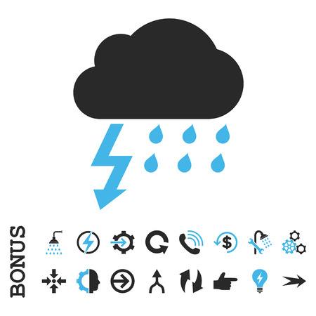 voltage gray: Thunderstorm vector bicolor icon. Image style is a flat pictogram symbol, blue and gray colors, white background.