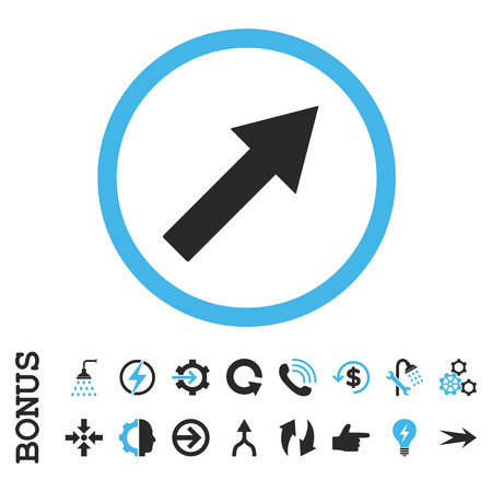 upright: Up-Right Rounded Arrow vector bicolor icon. Image style is a flat iconic symbol, blue and gray colors, white background. Illustration