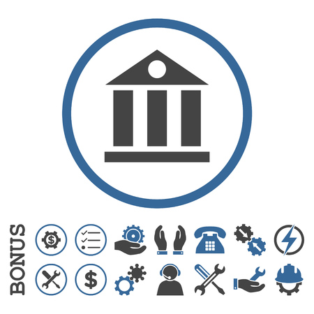 cobalt: Bank Building glyph bicolor icon. Image style is a flat pictogram symbol inside a circle, cobalt and gray colors, white background. Bonus images are included. Stock Photo