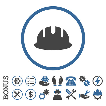 hardhat: Builder Hardhat glyph bicolor icon. Image style is a flat pictogram symbol inside a circle, cobalt and gray colors, white background. Bonus images are included.