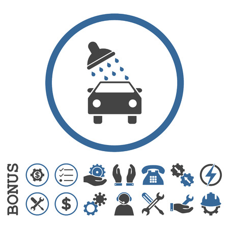 sanitize: Car Wash glyph bicolor icon. Image style is a flat pictogram symbol inside a circle, cobalt and gray colors, white background. Bonus images are included.