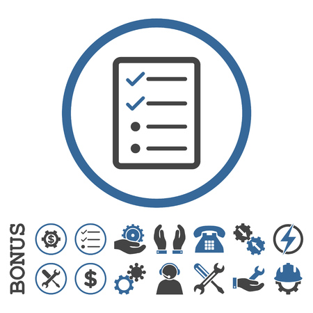 circle icon: Checklist Page glyph bicolor icon. Image style is a flat pictogram symbol inside a circle, cobalt and gray colors, white background. Bonus images are included.