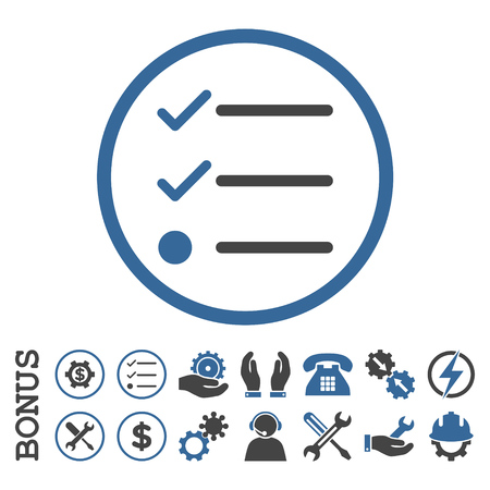 Checklist glyph bicolor icon. Image style is a flat pictogram symbol inside a circle, cobalt and gray colors, white background. Bonus images are included. Stock Photo