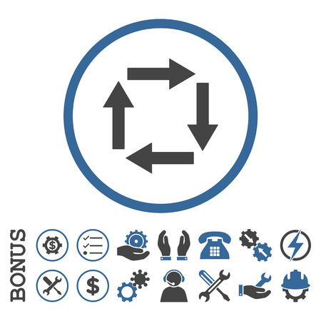renew.: Circulation Arrows glyph bicolor icon. Image style is a flat pictogram symbol inside a circle, cobalt and gray colors, white background. Bonus images are included.