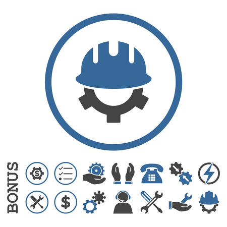 cobalt: Development Helmet glyph bicolor icon. Image style is a flat pictogram symbol inside a circle, cobalt and gray colors, white background. Bonus images are included.