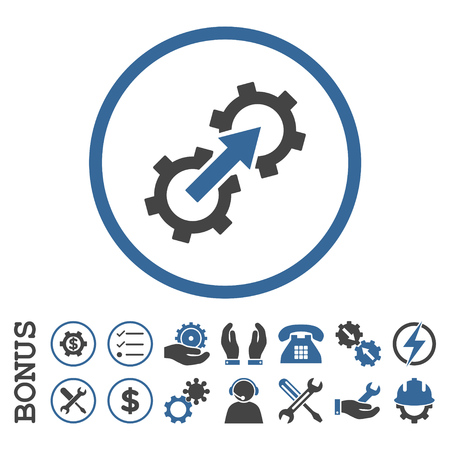 cobalt: Gear Integration glyph bicolor icon. Image style is a flat pictogram symbol inside a circle, cobalt and gray colors, white background. Bonus images are included.