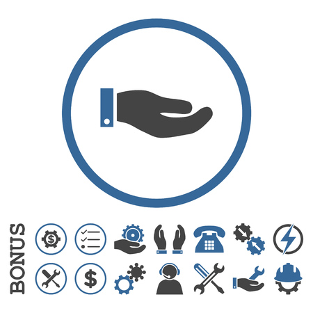 cobalt: Hand glyph bicolor icon. Image style is a flat pictogram symbol inside a circle, cobalt and gray colors, white background. Bonus images are included. Stock Photo