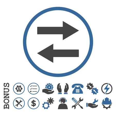 Horizontal Flip Arrows glyph bicolor icon. Image style is a flat pictogram symbol inside a circle, cobalt and gray colors, white background. Bonus images are included. Stock Photo