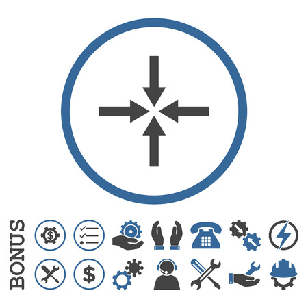 Impact Arrows glyph bicolor icon. Image style is a flat pictogram symbol inside a circle, cobalt and gray colors, white background. Bonus images are included. Stock Photo