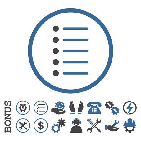 nomenclature: Items glyph bicolor icon. Image style is a flat pictogram symbol inside a circle, cobalt and gray colors, white background. Bonus images are included. Stock Photo