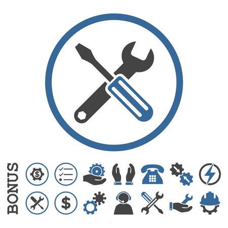 config: Options glyph bicolor icon. Image style is a flat pictogram symbol inside a circle, cobalt and gray colors, white background. Bonus images are included.