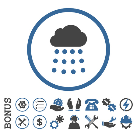 cobalt: Rain Cloud glyph bicolor icon. Image style is a flat pictogram symbol inside a circle, cobalt and gray colors, white background. Bonus images are included.