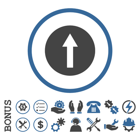 penetrating: Up Rounded Arrow glyph bicolor icon. Image style is a flat pictogram symbol inside a circle, cobalt and gray colors, white background. Bonus images are included. Stock Photo