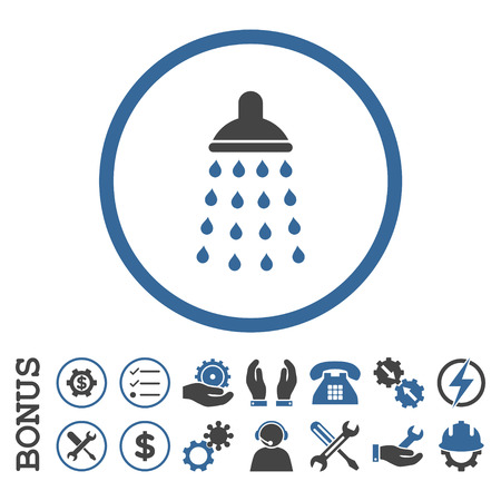cobalt: Shower glyph bicolor icon. Image style is a flat pictogram symbol inside a circle, cobalt and gray colors, white background. Bonus images are included.