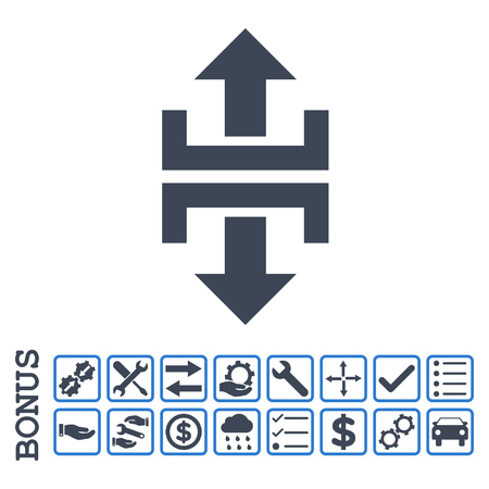reshape: Divide Vertical Direction icon with bonus pictograms. Vector style is flat iconic symbol, smooth blue colors, white background. Bonus style is bicolor square rounded frames with symbols inside.