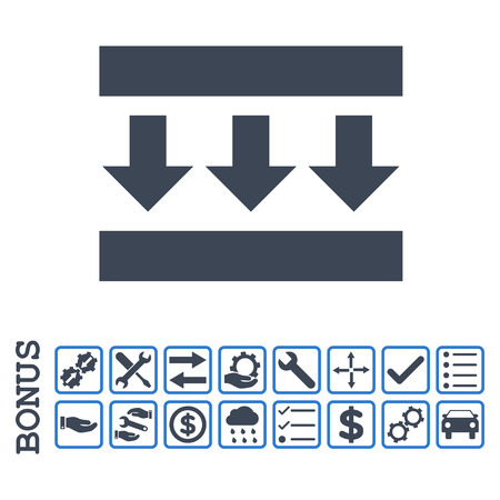 shrink: Pressure Down icon with bonus pictograms. Glyph style is flat iconic symbol, smooth blue colors, white background. Bonus style is bicolor square rounded frames with symbols inside.