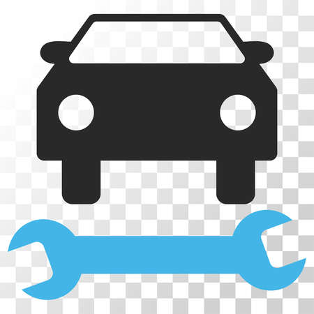 Car Repair vector icon. Image style is a flat blue and gray colors pictograph symbol.