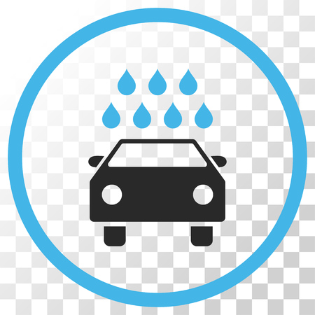 sanitize: Car Shower vector icon. Image style is a flat blue and gray colors pictograph symbol.