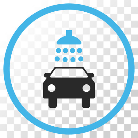 antiseptic: Car Shower vector icon. Image style is a flat blue and gray colors pictograph symbol.