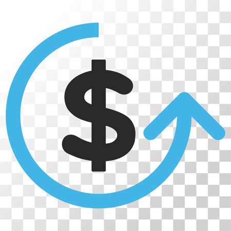 Chargeback vector icon. Image style is a flat blue and gray colors pictogram symbol.