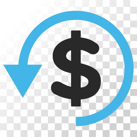 Chargeback vector icon. Image style is a flat blue and gray colors icon symbol. Illustration