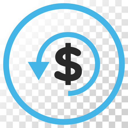 Chargeback vector icon. Image style is a flat blue and gray colors pictograph symbol.