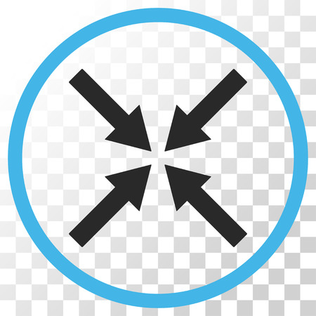 collide: Center Arrows vector icon. Image style is a flat blue and gray colors pictogram symbol. Illustration