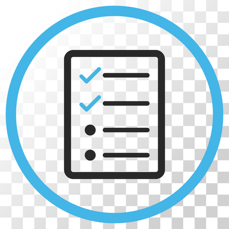todo list: Checklist Page vector icon. Image style is a flat blue and gray colors iconic symbol.